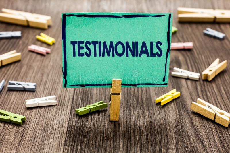 Text sign showing Testimonials. Conceptual photo Customers formal endorsement statement experience of someone Random clips art wor. K board creative nice royalty free stock photo