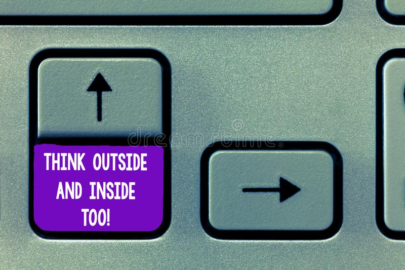 Text sign showing Think Outside And Inside Too. Conceptual photo See the problem from different perspectives Keyboard. Key Intention to create computer message stock image