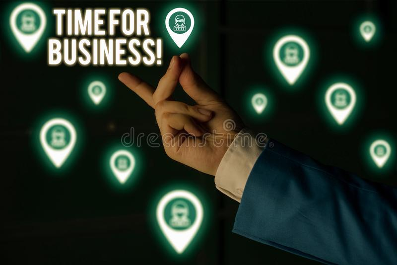 Text sign showing Time For Business. Conceptual photo fulfil transactions within period promised to client Male human. Text sign showing Time For Business stock image