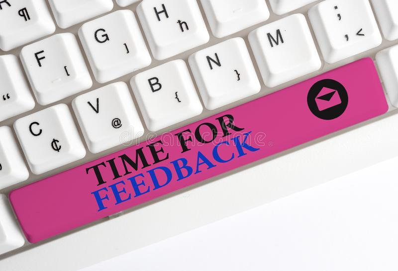 Text sign showing Time For Feedback. Conceptual photo information about reactions to a product or services White pc. Text sign showing Time For Feedback royalty free stock images