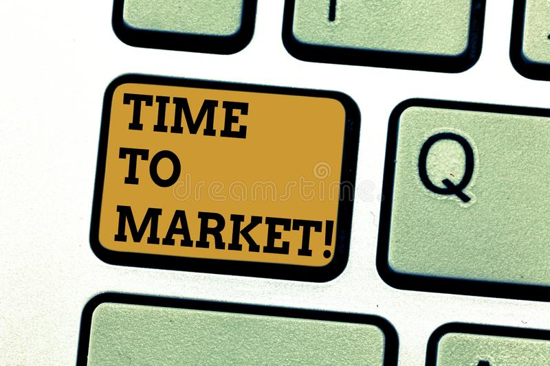 Text sign showing Time To Market. Conceptual photo Right moment for making financial movements stock exchange Keyboard. Key Intention to create computer message royalty free illustration
