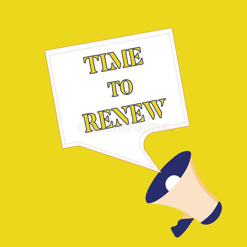 Text sign showing Time To Renew. Conceptual photo Continue the insurance acquired Life and property protection.  vector illustration