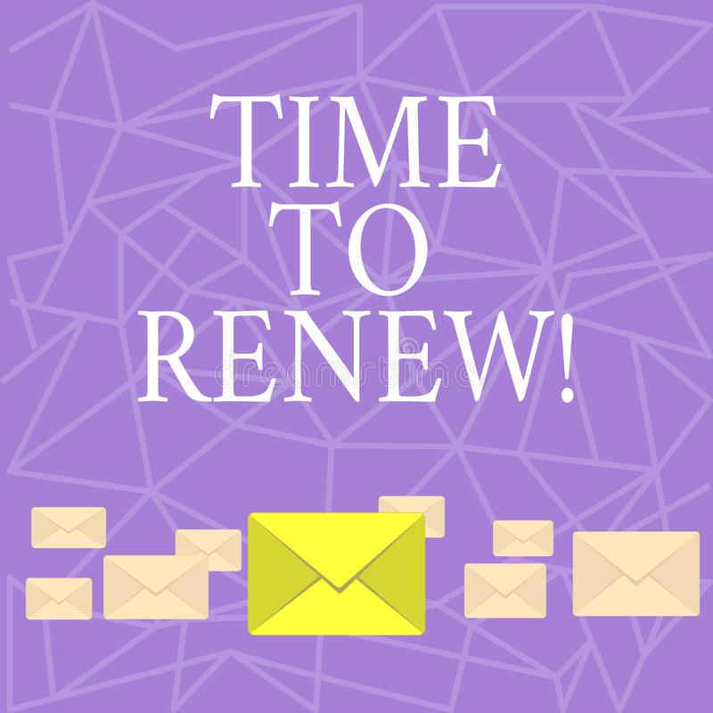 Text sign showing Time To Renew. Conceptual photo Continue the insurance acquired Life and property protection. Text sign showing Time To Renew. Conceptual royalty free illustration