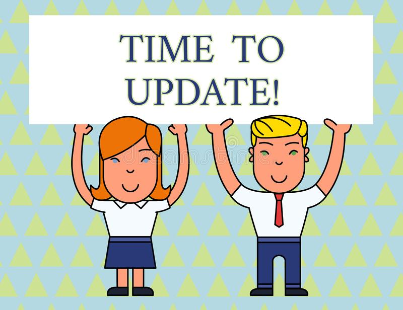 Text sign showing Time To Update. Conceptual photo act updating something someone or updated version program Two Smiling. Text sign showing Time To Update vector illustration