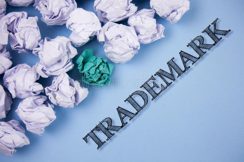 Text sign showing Trademark. Conceptual photo Legally registered Copyright Intellectual Property Protection written on the Plain B. Text sign showing Trademark royalty free illustration
