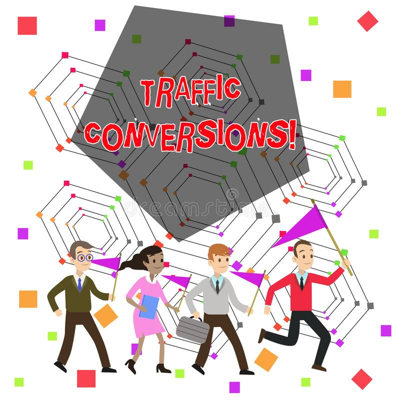 Text sign showing Traffic Conversions. Conceptual photo visitor who has been converted into a client or customer People. Text sign showing Traffic Conversions royalty free illustration