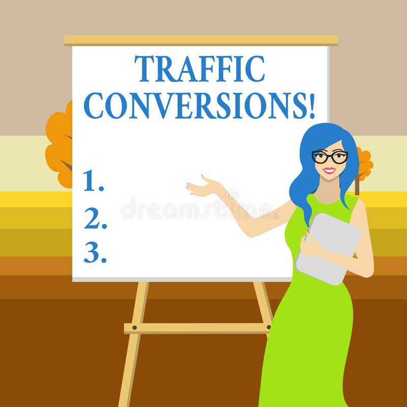 Text sign showing Traffic Conversions. Conceptual photo visitor who has been converted into a client or customer White. Text sign showing Traffic Conversions royalty free illustration