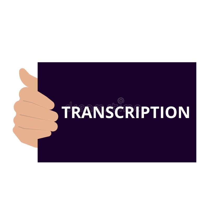 Text sign showing Transcription vector illustration