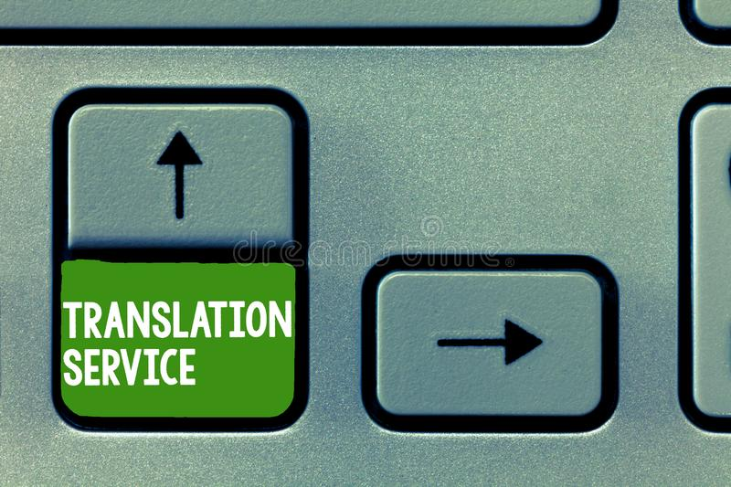 Text sign showing Translation Service. Conceptual photo the Equivalent Target Language from the Mother Tongue.  royalty free stock images