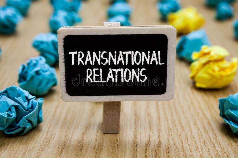 Text sign showing Transnational Relations. Conceptual photo International Global Politics Relationship Diplomacy Paperclip hold wr royalty free stock photos