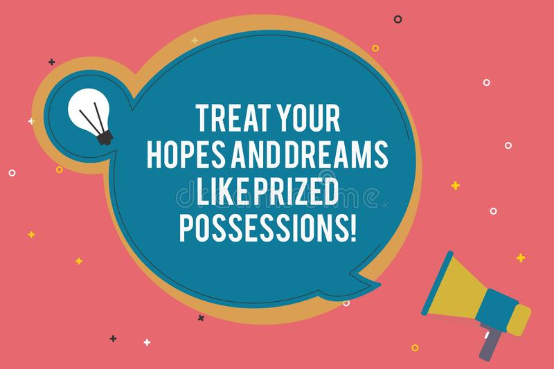 Text sign showing Treat Your Hopes And Dreams Like Prized Possessions. Conceptual photo Value your wishes Blank Round. Speech Bubble with Bulb Idea Icon Sticker stock illustration