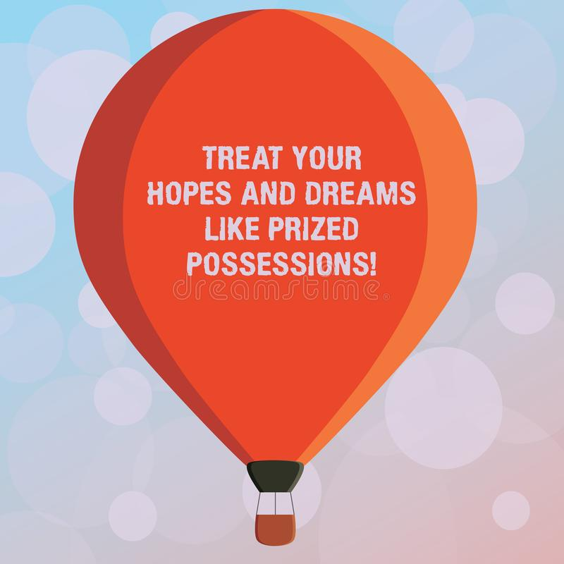 Text sign showing Treat Your Hopes And Dreams Like Prized Possessions. Conceptual photo Value your wishes Three toned Color Hot. Air Balloon afloat with Basket stock illustration