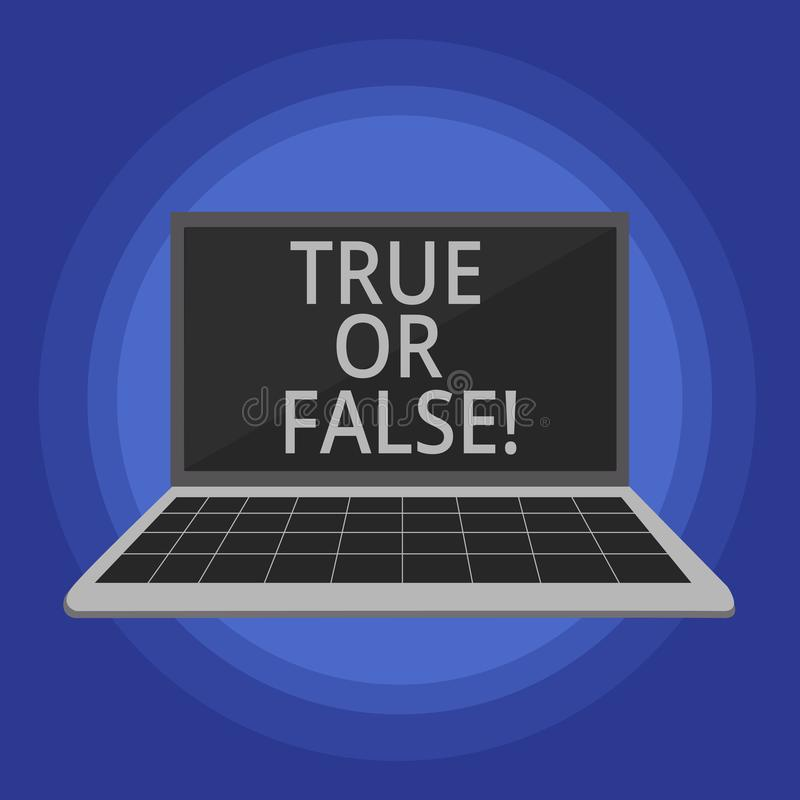 Text sign showing True Or False. Conceptual photo Decide between a fact or telling a lie Doubt confusion. Text sign showing True Or False. Conceptual photo royalty free illustration