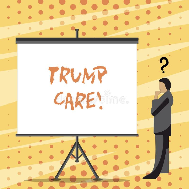 Text sign showing Trump Care. Conceptual photo refers to replacement for Affordable Care Act in united states. Text sign showing Trump Care. Business photo text stock illustration