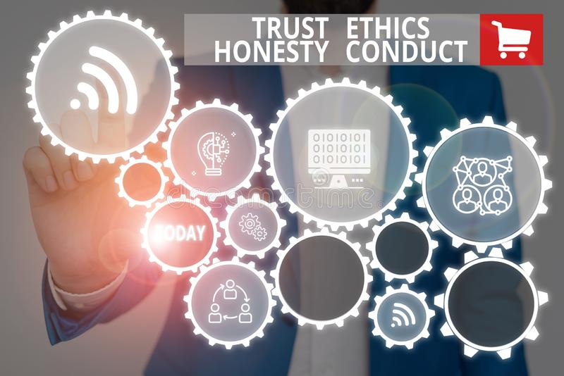 Text sign showing Trust Ethics Honesty Conduct. Conceptual photo connotes positive and virtuous attributes Male human. Text sign showing Trust Ethics Honesty stock photo