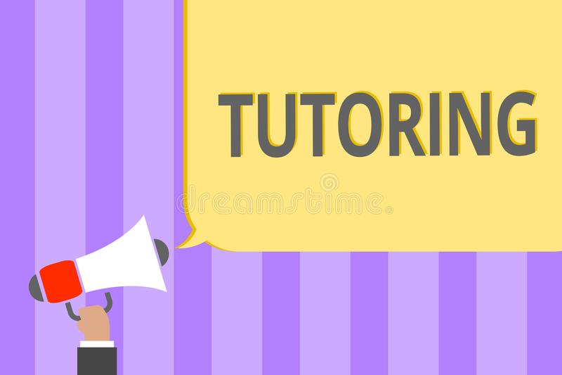 Text sign showing Tutoring. Conceptual photo An act of a person employed to administer knowledge to someone Megaphone loudspeaker. Loud screaming scream idea royalty free illustration