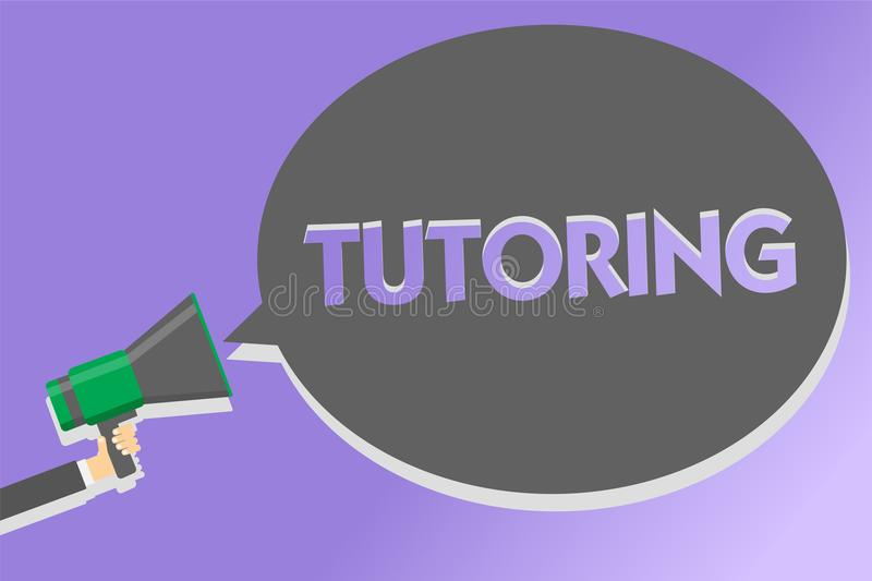 Text sign showing Tutoring. Conceptual photo An act of a person employed to administer knowledge to someone Megaphone loudspeaker. Loud screaming scream idea stock illustration