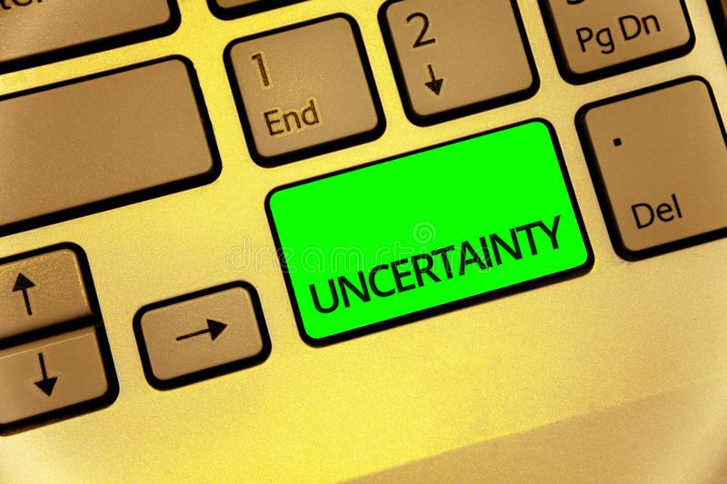 Text sign showing Uncertainty. Conceptual photo Unpredictability of certain situations events behavior Keyboard key laptop creativ. E computer brown keypad idea royalty free stock photos