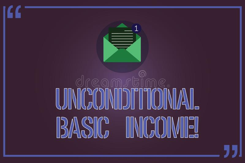 Text sign showing Unconditional Basic Income. Conceptual photo paid income without a requirement to work Open Envelope. With Paper New Email Message inside stock illustration