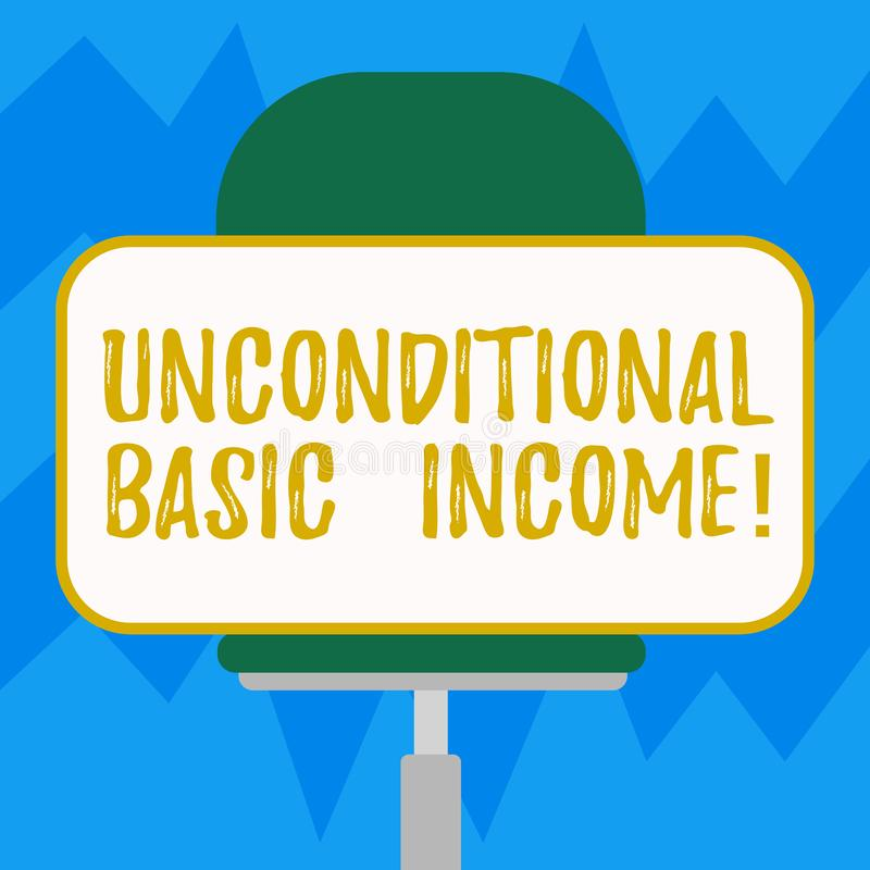 Text sign showing Unconditional Basic Income. Conceptual photo paid income without a requirement to work Blank. Rectangular Shape Sticker Sitting Horizontally vector illustration
