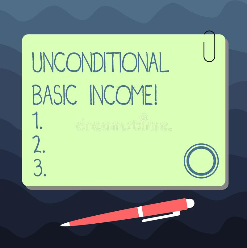 Text sign showing Unconditional Basic Income. Conceptual photo paid income without a requirement to work Blank Square. Color Board with Magnet Click Ballpoint stock illustration