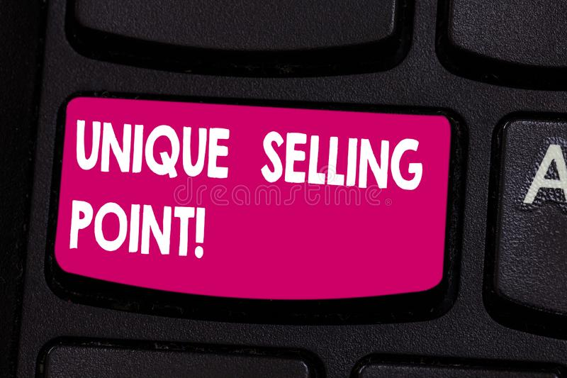 Text sign showing Unique Selling Point. Conceptual photo product feature that makes it diverse from other brand Keyboard. Key Intention to create computer royalty free stock photos