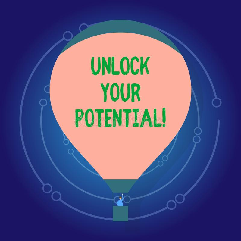 Text sign showing Unlock Your Potential. Conceptual photo access your true skills and powers Believe in yourself. Text sign showing Unlock Your Potential stock illustration