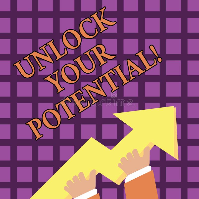 Text sign showing Unlock Your Potential. Conceptual photo access your true skills and powers Believe in yourself. Text sign showing Unlock Your Potential vector illustration