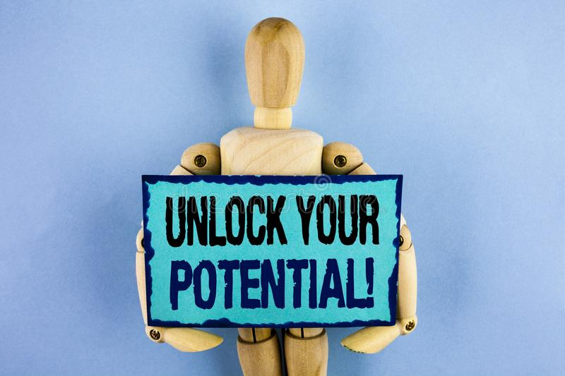 Text sign showing Unlock Your Potential Motivational Call. Conceptual photo Reveal talent Sow Skills Abilities written on Sticky n stock photography