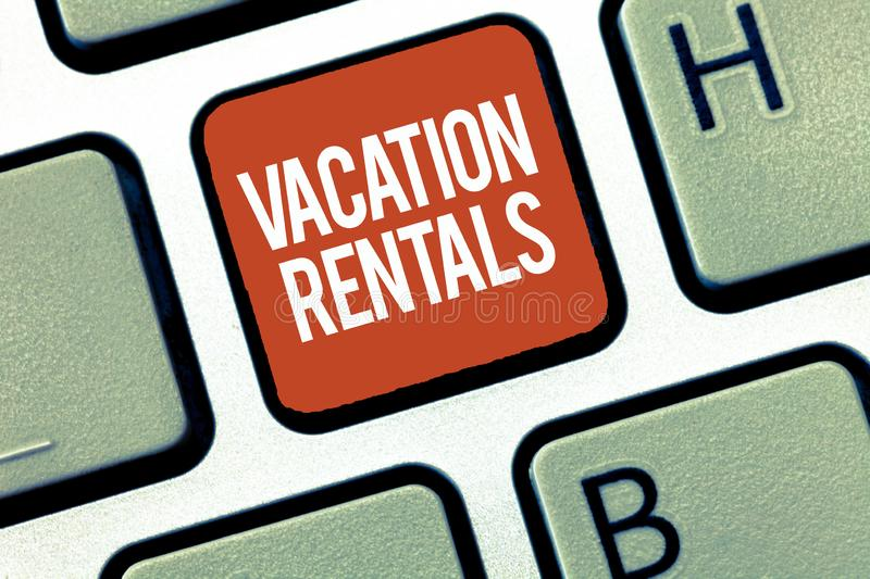 Text sign showing Vacation Rentals. Conceptual photo Renting out of apartment house condominium for a short stay.  royalty free stock photo