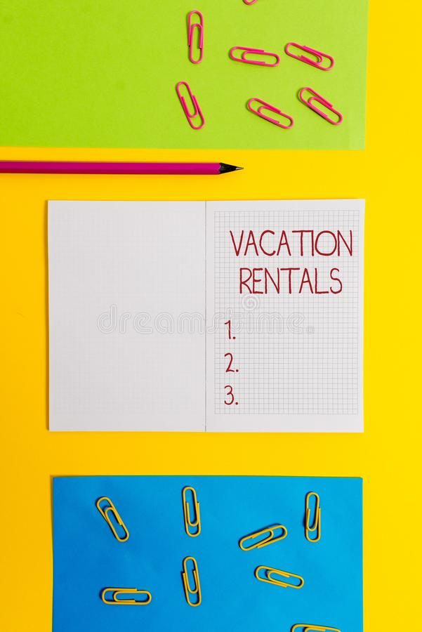 Text sign showing Vacation Rentals. Conceptual photo Renting out of apartment house condominium for a short stay Blank. Text sign showing Vacation Rentals royalty free stock photos