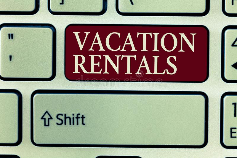 Text sign showing Vacation Rentals. Conceptual photo Renting out of apartment house condominium for a short stay.  royalty free stock images