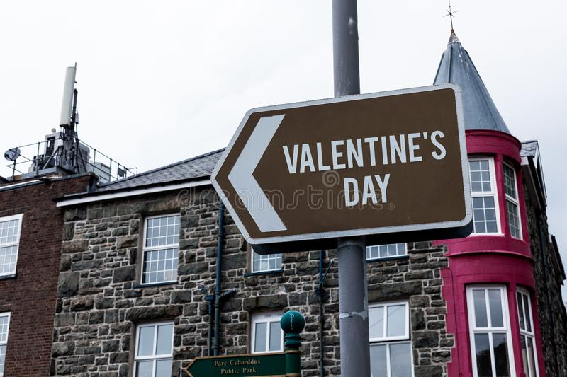 Text sign showing Valentine S Day. Conceptual photo time when showing show feelings of love and affection Empty street. Text sign showing Valentine S Day royalty free stock image