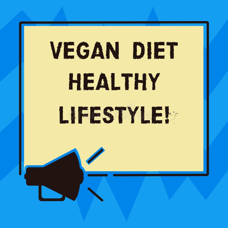 Text sign showing Vegan Diet Healthy Lifestyle. Conceptual photo Healthy lifestyle eating vegetables and fruits Megaphone Sound. Icon Outlines Blank Square royalty free illustration