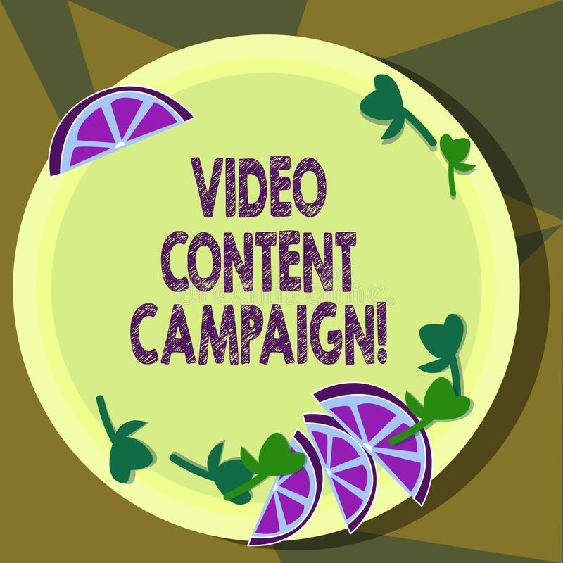 Text sign showing Video Content Campaign. Conceptual photo Integrates engaging video into marketing campaigns Cutouts of. Sliced Lime Wedge and Herb Leaves on vector illustration