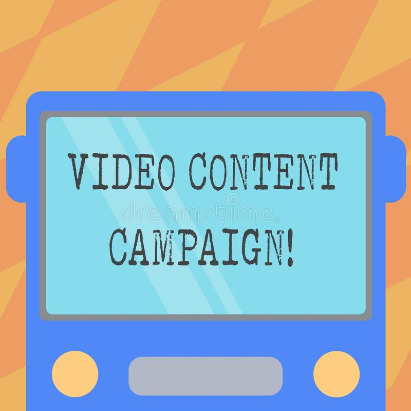 Text sign showing Video Content Campaign. Conceptual photo Integrates engaging video into marketing campaigns Drawn Flat. Front View of Bus with Blank Color royalty free illustration