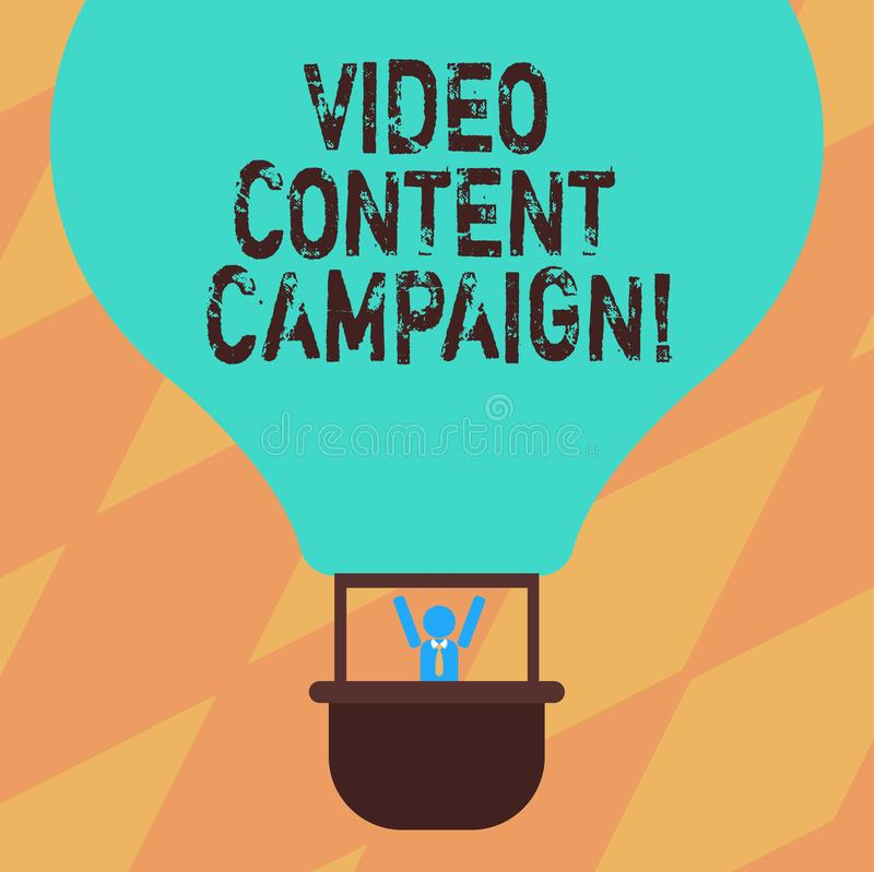 Text sign showing Video Content Campaign. Conceptual photo Integrates engaging video into marketing campaigns Hu. Analysis Dummy Arms Raising inside Gondola vector illustration