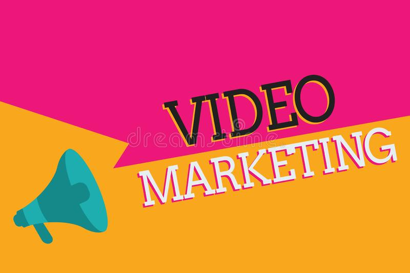 Text sign showing Video Marketing. Conceptual photo create short videos about specific topics using articles.  royalty free illustration