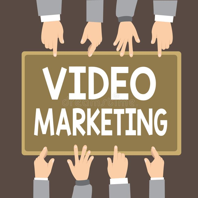 Text sign showing Video Marketing. Conceptual photo create short videos about specific topics using articles.  stock illustration
