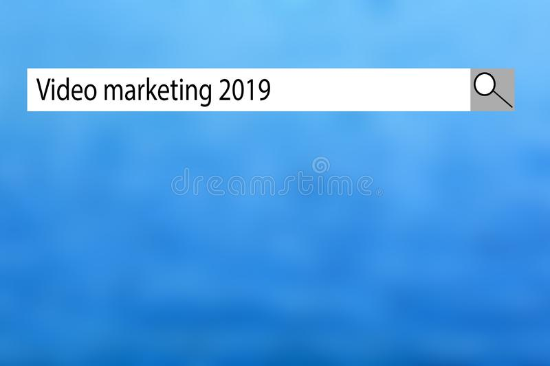 Text sign showing `Video marketing 2019`. Conceptual photo list of things that got popular very quickly in this year. stock illustration