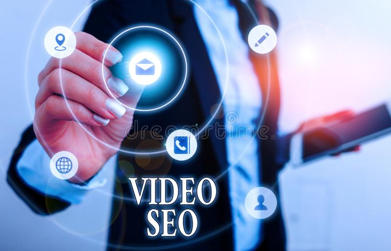 Text sign showing Video Seo. Conceptual photo the process of improving the ranking or visibility of a video. royalty free stock photography