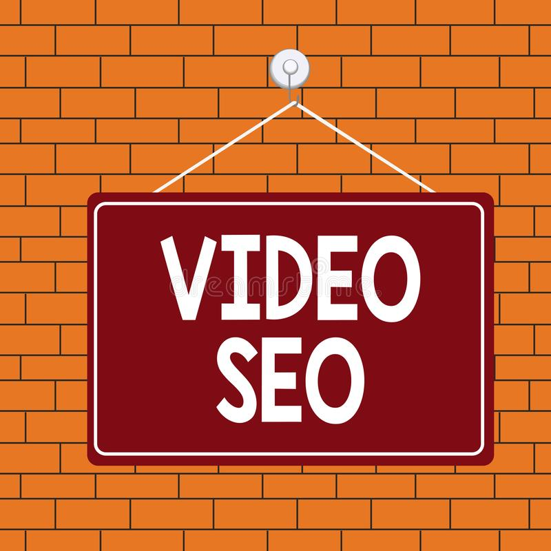Text sign showing Video Seo. Conceptual photo the process of improving the ranking or visibility of a video Colored memo vector illustration