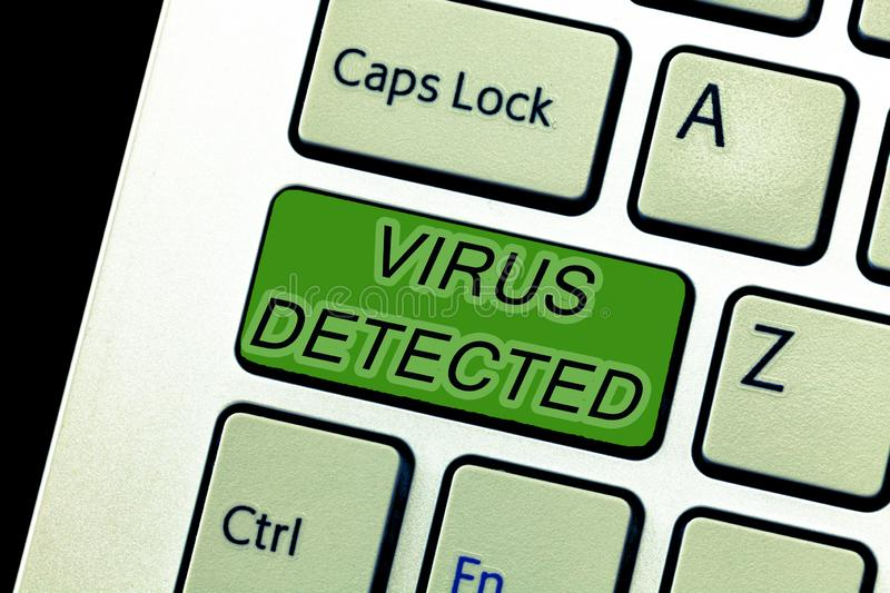 Text sign showing Virus Detected. Conceptual photo A computer program used to prevent and remove malware stock image