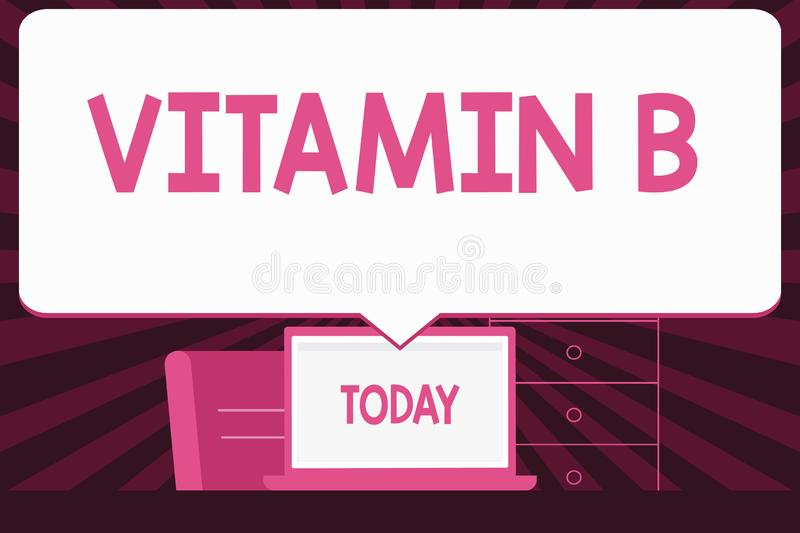 Text sign showing Vitamin B. Conceptual photo Highly important sources and benefits of nutriments folate Blank Huge. Text sign showing Vitamin B. Business photo royalty free illustration