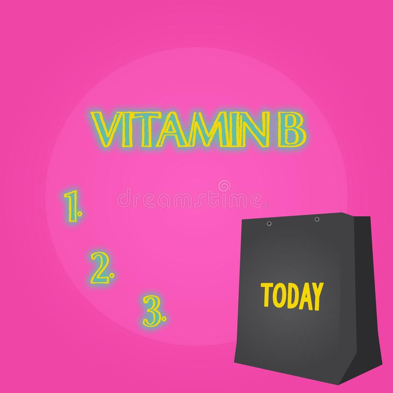 Text sign showing Vitamin B. Conceptual photo Highly important sources and benefits of nutriments folate Color Gift Bag. Text sign showing Vitamin B. Business royalty free illustration