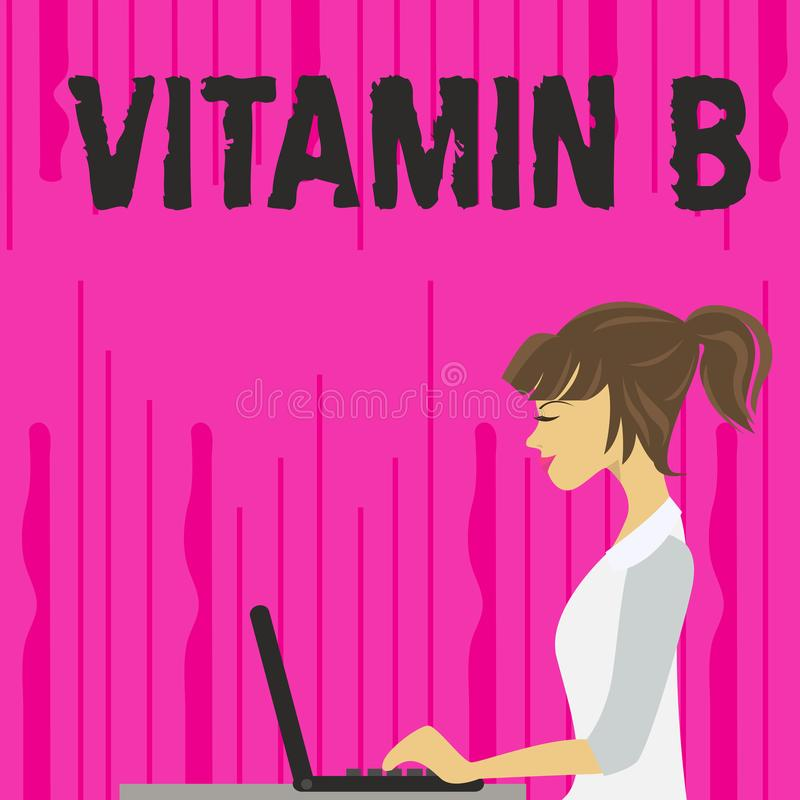 Text sign showing Vitamin B. Conceptual photo Highly important sources and benefits of nutriments folate photo of Young. Text sign showing Vitamin B. Business vector illustration