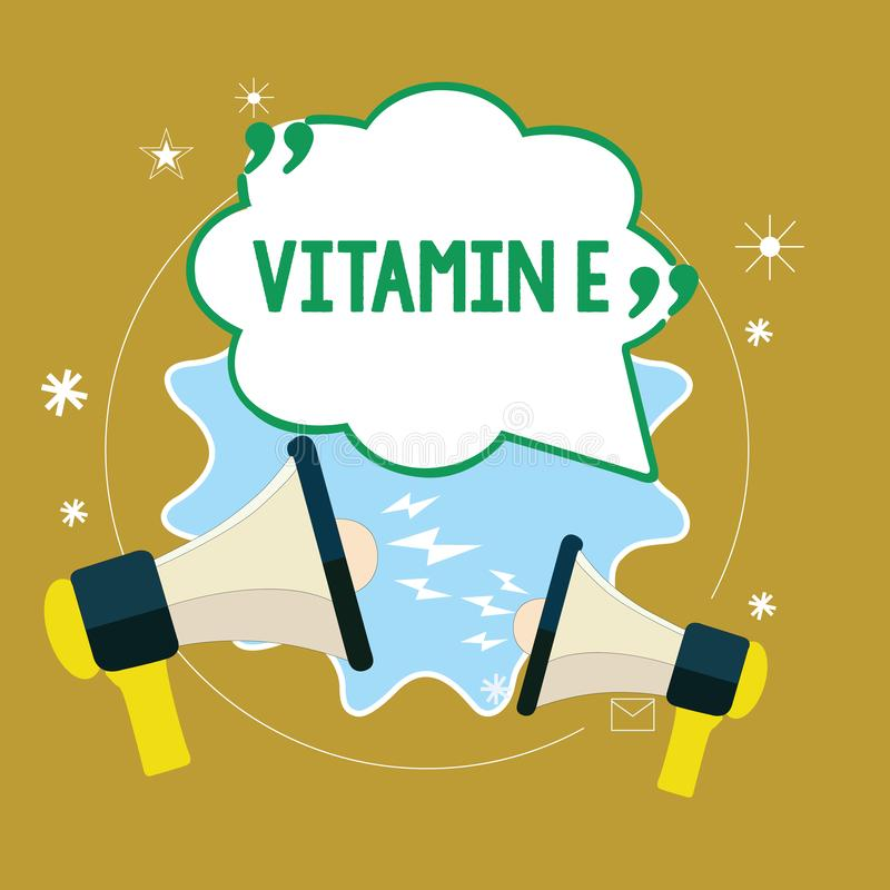 Text sign showing Vitamin E. Conceptual photo Antioxidant Protects body tissue from damage caused by substances.  stock illustration