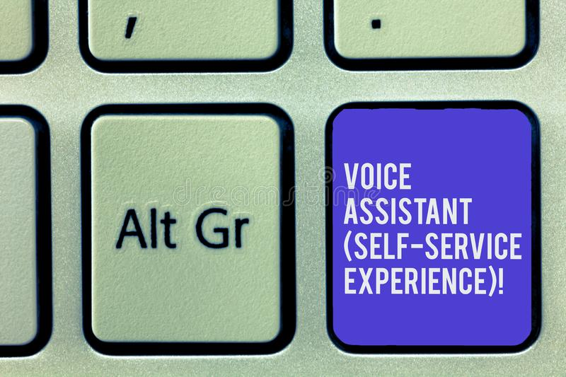 Text sign showing Voice Assistant Self Service Experience. Conceptual photo Artificial intelligence chat bot Keyboard. Key Intention to create computer message stock photography