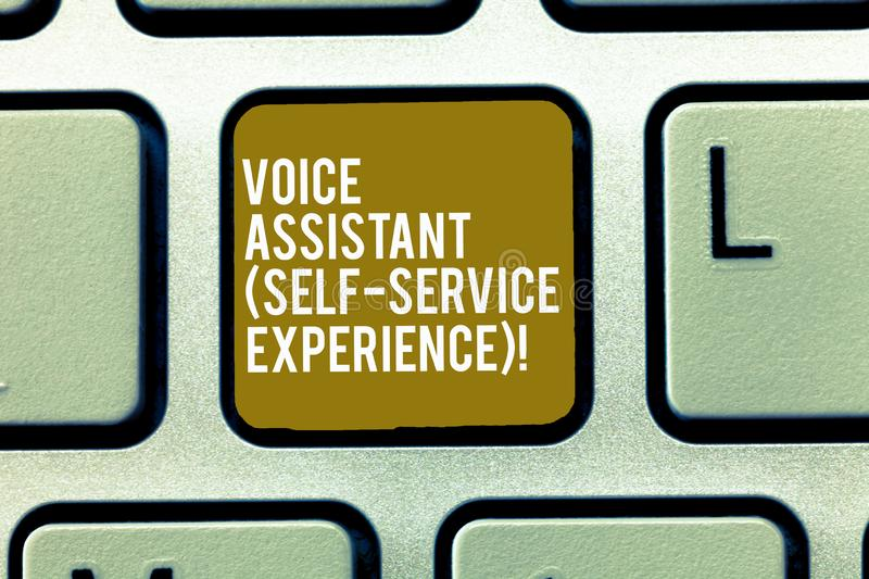 Text sign showing Voice Assistant Self Service Experience. Conceptual photo Artificial intelligence chat bot Keyboard. Key Intention to create computer message stock photo