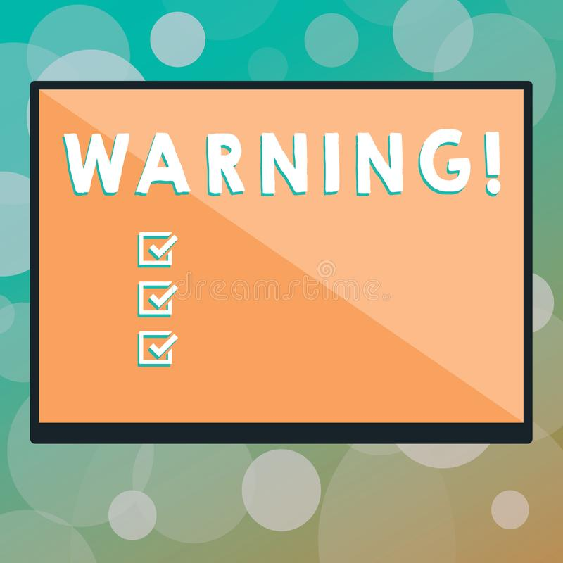 Text sign showing Warning. Conceptual photo statement or event that warns of something or serves as example Rectangular Shape Form. In half diagonal split two stock photography